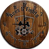 TBA Wall Clock Large Aces & Eights Poker Bar Sign Home Decor Brown 18 inch Wall Decor