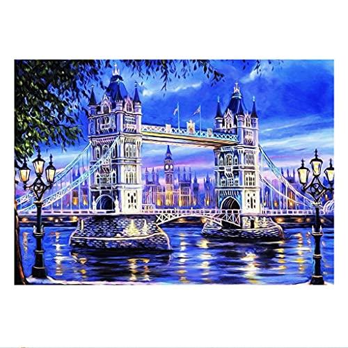 50 x 40 cm DIY Square Diamond Painting Kit de Pintura de Diamante Cuadrado Completo para Punto de cruz para Adultos Bordado de Diamantes de Imitación Manualidades Puente azul Pegatinas de pared