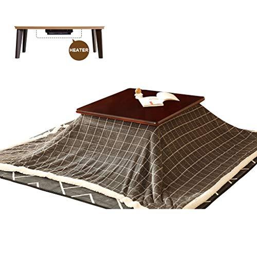 LZG Japanische Kotatsu-Tabelle mit Heizung und Decke, Tröster, Tatami Futon Brown-Kaffee-Tee-Tabellen-hölzernes Quadrat groß für Wohnzimmer-Winter, graues Kariertes