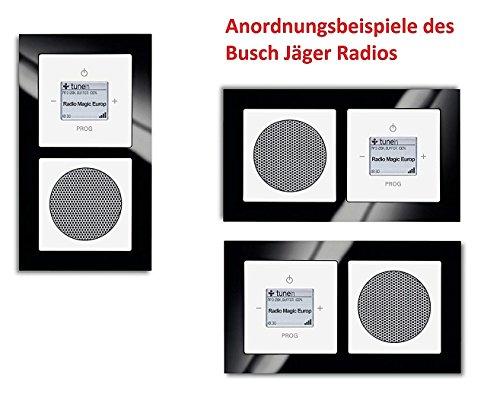 Busch Jäger Unterputz UP WLAN iNet Internetradio 8216 U (8216U) Komplett-Set, Radioeinheit + Lautsprecher + Rahmen axcent schwarz + Abdeckungen future linear studioweiß