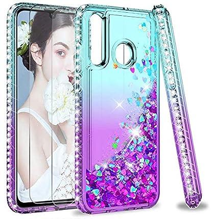 LeYi Funda para Huawei P30 Lite Silicona Purpurina Carcasa con [2-Unidades Cristal Vidrio Templado], Transparente Cristal Bumper Gel TPU Fundas Case Cover para Movil Huawei P30 Lite,Verde/Morado