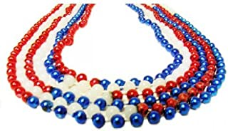 Toomey's Mardi Gras - July 4th Beads- 3 Dozen Red, White and Blue 7MM Round Throw Beads in 33-Inch Length – M-33-7rdsRWBC-RED, WH, BL 30dz