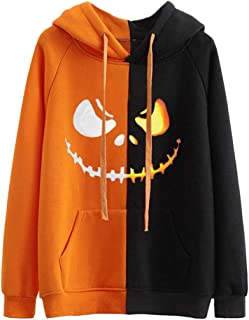 KLFGJ Women's Halloween Pumpkin Face Long Sleeve Hoodie Sweatshirts Casual Hooded Pullover Tops