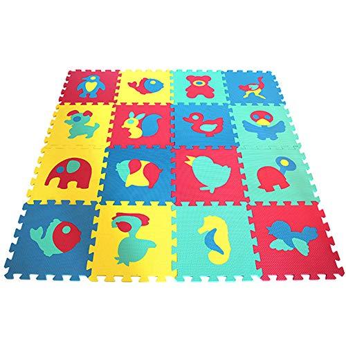 SJZX Kinder Puzzlematten Bodenpuzzles Schaumstoffplatten Weichere Spielmatte Kleines Tier 16 Matten 0621