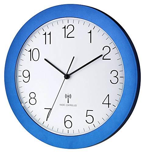 Funk-Wanduhr TFA 60.3512 mit Lautlos Sweep-Uhrwerk, 300 mm (Blau Metallic)
