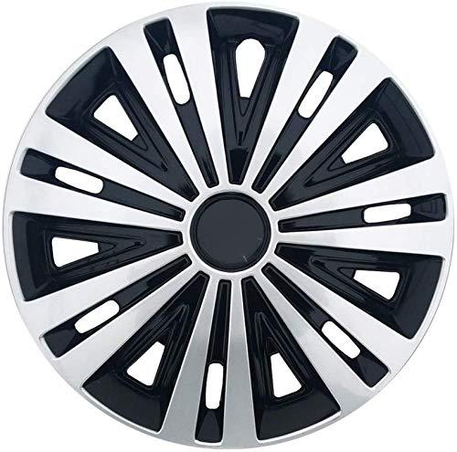 Upupto Conjunto De 4 Ruedas del Coche Recorta 14 Pulgadas, Ajuste Universal para La Mayoría De Los Vehículos Tapacubos, Rápido Y Fácil Instalación Plástico De Alto Impacto, Plata Negro