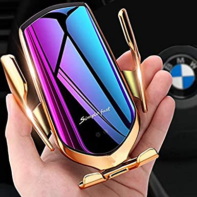 Gold Car Mount Smart Automatic One Touch Infrared Sensor Qi Fast Wireless Charger Holder Clamping Mount for iPhone Samsung Xiaomi Cell Phone