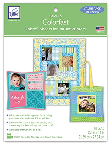 10-pack Colorfast White Printer Fabric