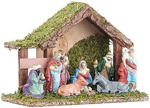 Britesta Weihnachtsdekoration: Klassische Holz-Weihnachtskrippe, handbemalte Porzellan-Figuren, klein (Deko-Weihnachtskrippe)