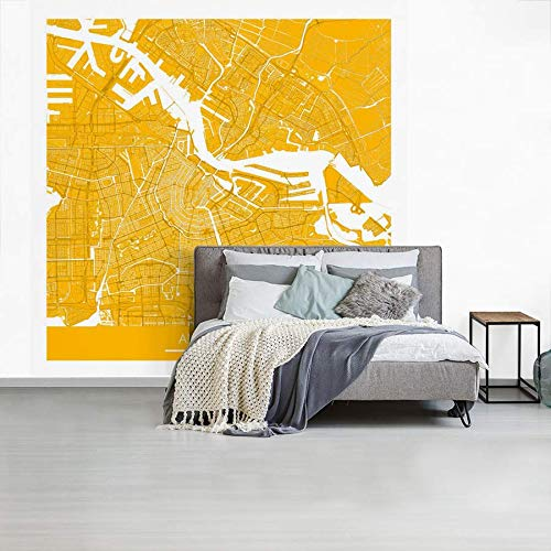 Fotobehang vinyl Stadskaarten Amsterdam - Amsterdam Nederland 52373°N / 4905°E - gold centrum breedte 450 cm x hoogte 450 cm - Foto print op behang (in 7 formaten beschikbaar)