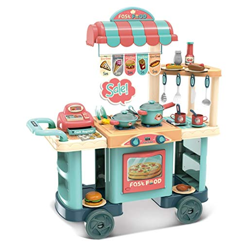 YOG (US in Stock) Kitchen Toy Cart Play Set with Real Cooking Role Play Kids Shopping Grocery Dessert Snack Cart Small Cart with Cash Register Christmas Birthday Gift for Boys and Girls