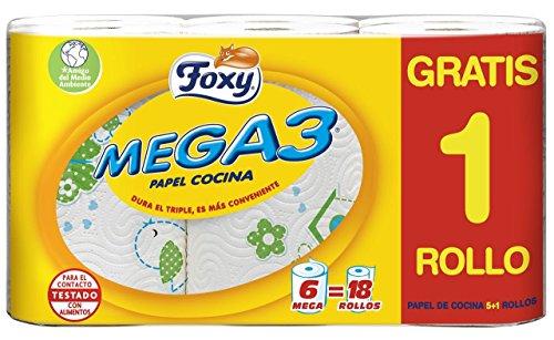 Foxy Mega 3 keukenpapier, 4 verpakkingen met 6 rollen