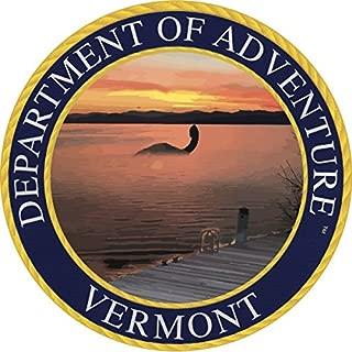 Vermont Sticker, Department of Adventure State Seal VT Lake Champlain Monster Champ - Vinyl Decal Label for Water Bottle Laptop Luggage Bike Laptop Tacklebox 5 Gal Bucket Bumper Helmet Waterproof