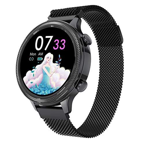 Reloj inteligente para mujer, resistente al agua, monitoreo de frecuencia cardíaca, pulsera BluetoothFitness, reloj inteligente adecuado para Android IOS (color negro)