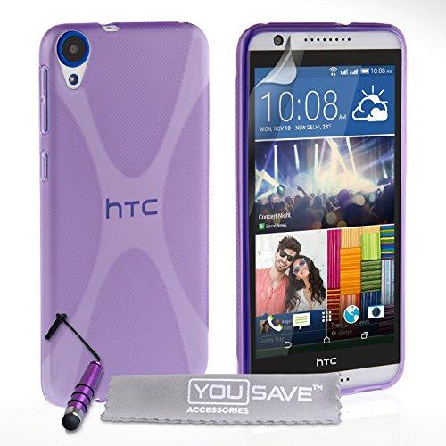 Yousave Accessories Kompatibel Für HTC Desire 820 Hülle Violett X-Linie Silikon Gel Schutzhülle Mit Mini Griffel Stift