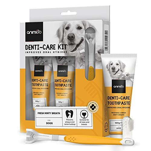 Pasta de Dientes Perros 2x100gr con 2 Cepillos de Dientes | para Cuidado Dental, Sarro y Mal Aliento ⭐