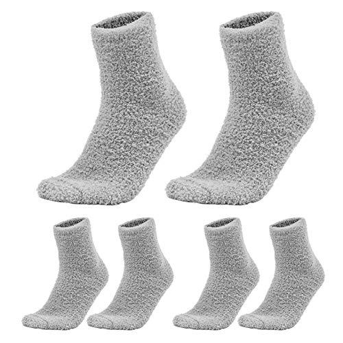 SOIMISS 3 Pares de Calcetines de Color Sólido Zapatillas Mullidas Calcetines Gruesos Calcetines Calientes Cálidos de Lana de Coral para Dormir en Casa Calcetines de Lana de Coral de