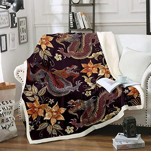 Manta de sherpa con diseño floral dorado para niños, adolescentes, patrimonio chino, diseño histórico oriental, manta de felpa, bermellón negro, manta para sofá cama, cama doble, 156 x 172 cm