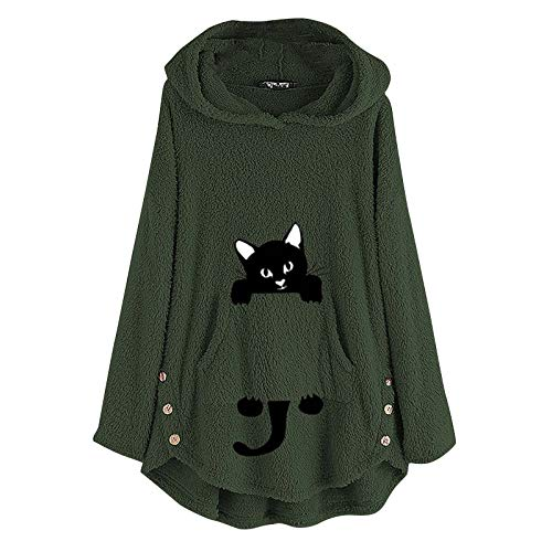 Dosoop Womens Fleece Warm Hoodie Fleece Pullover Autumn Winter Plush Cat Embroidery Plus Size Hooded Tops Button Sweater