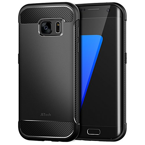 JETech Cover per Samsung Galaxy S7 Edge, Custodia con Assorbimento degli Urti e Fibra di Carbonio, Nero