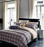 XIAOMEI Premium 4 Stück Bett Bettwäsche-Set Gewaschener Baumwolle Bettbezug Set,leichte Atmungsaktive Haut-freundlich Bett Sets Gedruckt Moderne Amerikanischen Stil-x 150cm(59inch)