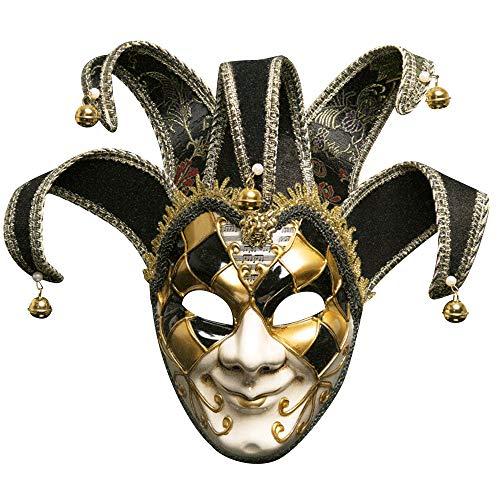 BLEVET Venezianische Maske Gesichtsmaske Joker Karneval Fasching Maskenball Karneval MZ011 (Black)