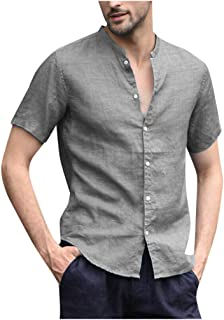 TOPUNDER Men's Baggy Cotton Linen Solid Short Sleeve Button Retro T Shirts Tops Blouse