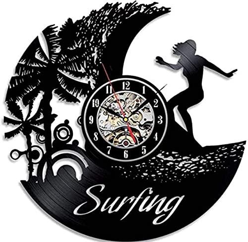TeenieArt 1 Pieza de diseño de Surfista, Arte Moderno, decoración Retro, Regalo de cumpleaños para Surfista, Reloj de Pared de Vinilo de 12 Pulgadas con Led