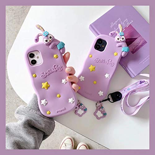 YUJINQ Duffy Bear Rabbit Soft Gel Rubber Silicone 3D Cartoon Animal Cover,Kids Girls Women Cool Lovely Cute Cases with Lanyard (iPhone 6 Plus/6s Plus/7 Plus/8 Plus -5.5',Purple)