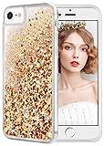 wlooo Coque pour iPhone 6/6s/7/8, iPhone 7 Coque, iPhone 8 Silicone Coque, Glitter Liquide Paillette Protection TPU Bumper Housse Étincelle Antichoc Souple Brillante Étui (Or Argent)