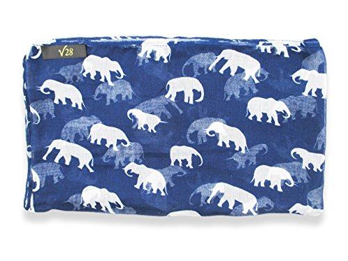 V28 Gorgeous Blue Elephant Print Long & Soft Scarf Shawl/Wrap - Large