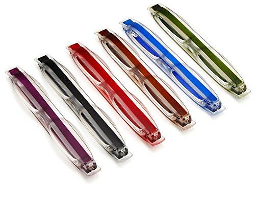 Butterme 6er Pack 360 Rotierende Tube Pen Clip Faltende Lesebrille mit Tragetasche für Männer und Frauen