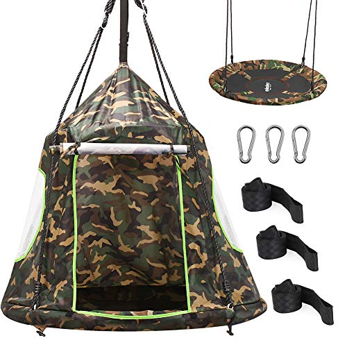 Hanging Tree Tent, 2 in 1 Detachable Saucer Tree Swing Play Tent for Kids for Indoor Outdoor Use, Tree Straps Included