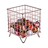 Coffee Pod Holder, Nugorise Coffee Pod Organizer, Metal Coffee Pod Storage Basket for Kitchen, Office, Cafe and Pantry, Rose Gold