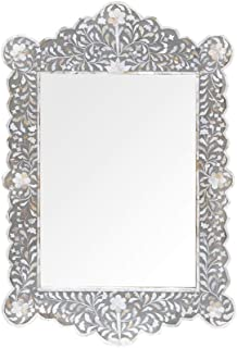 Traditional Handmade Floral Design Mother of Pearl Inlay Mirror in Grey