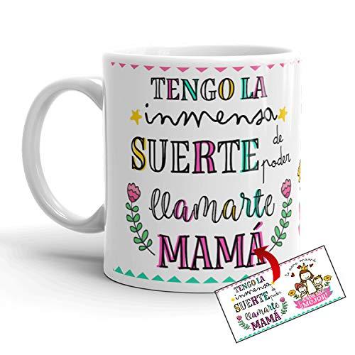 Kembilove Taza Madre – Taza Desayuno Regalos para Mamá – Regalos Originales para Madres – Regalo para el Día de la Madre Tengo la Suerte de llamarte Mamá – Diferentes Diseños Originales
