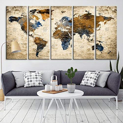 Amazoncom Modern Large Abstract Grunge Brown Dark Blue Wall Art