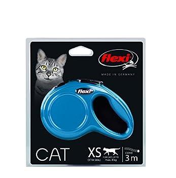 Flexi New Classic Laisse en Cordon pour Chat Bleu 3 m 8 kg Taille XS