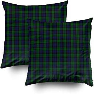 Musesh Christmas Pack of 2 Tartan Accent Cushions Case Throw Pillow Cover for Sofa Home Decorative Pillowslip Gift Ideas Household Pillowcase Zippered Pillow Covers 16x16Inch