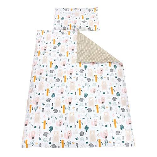 TupTam Kinder Bettwäsche Gemustert 2-Teilig, Farbe: Waldtiere, Größe: 135x100 cm