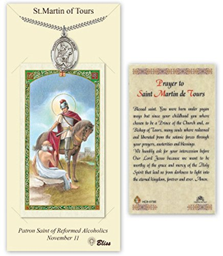 Pewter St. Saint Martin Of Tours Medal Pendant Necklace Comes With A 24 Inch Stainless Silver Curb Chain With A Prayer To St Anthony Prayer Card