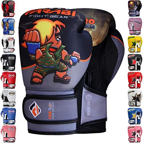 Farabi Boxhandschuhe für Kinder, Muay Thai, Kickboxen, Training, MMA, Boxsack, 170 g, Grau / Schwarz