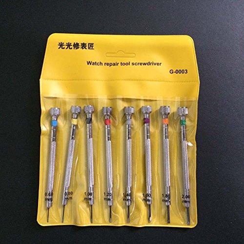 Juego de 8 destornilladores de precisión para relojeros, cuchillas planas, joyeros, teléfono móvil, herramienta de reparación de relojes WT0020