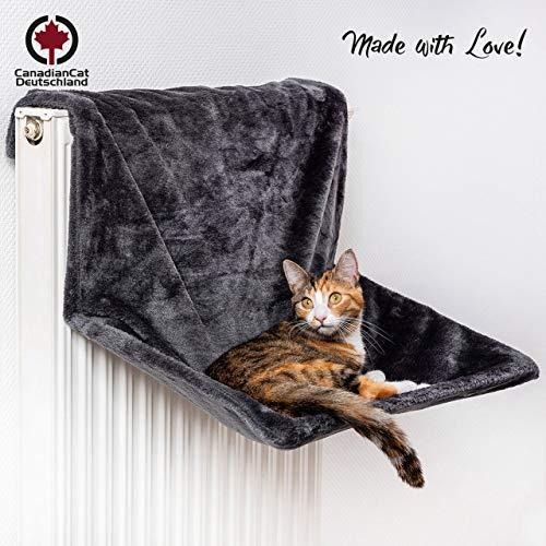 CanadianCat Company ® | XXL Hammock | Liegemulde BZW. Heizungliege für Grosse Katzen | Anthrazit - Dunkelgrau | verstellbar | 60 x 40 x 30 cm