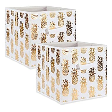 DII Fabric Storage Bins for Nursery, Offices, & Home Organization, Containers Are Made To Fit Standard Cube Organizers (13x13x13 ) Pineapple Gold - Set of 2