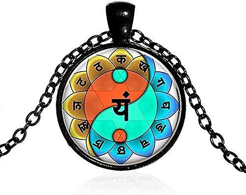 ZHIFUBA Co.,Ltd Collar de Moda 7 Chakra Yin Yang Colgante, Collar de Empalme de Personalidad, Budismo, Amantes del Yoga, Collar Largo, Mujeres, Hombres, bisutería