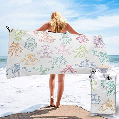 "Ahuimin Pool and Sand Free Beach Towels, Drawings of Various Robots Performing a Number of Tasks Radar Waiter Guard Cleaner 31"" x 63"" Best for Gym Travel Camp Backpacking"