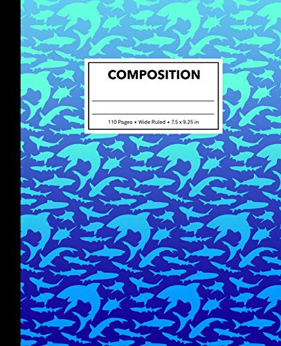 Composition: Blue Gradient Shark Composition Notebook for Kids, Cool Marble Sharks Pattern for Boys, Wide Ruled Book 7.5 x 9.25 in, 110 Pages, Back to School Supplies, For Students and Teachers