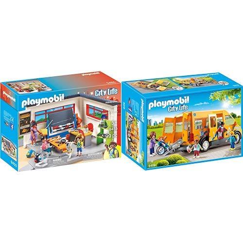 PLAYMOBIL 9455 Spielzeug-Klassenzimmer Geschichtsunterricht &  9419 - Schulbus Spiel