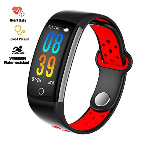 feifuns Fitness Tracker Heart Rate Monitor Watch, IP68 Waterproof Activity Tracker Pedometer Watch Alarm Clock Step Calorie Sleep Tracker as Fit Watch Gift (Black+Red)